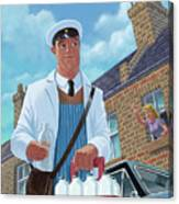 Milkman On Daily Milk Delivery In Urban Old Street Canvas Print