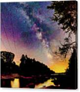 Milky Way Over The Saco River Maine  Canvas Print