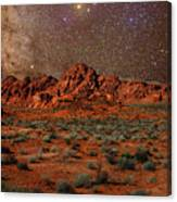 Milky Way Rising Over The Valley Of Fire Canvas Print