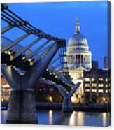 Millennium Bridge And St Pauls Cathedral Canvas Print