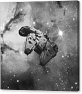 Millennium Falcon And Cosmos Canvas Print