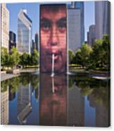 Millennium Park Fountain And Chicago Skyline Canvas Print