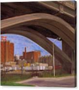 Miller Brewery Viewed Under Bridge Canvas Print