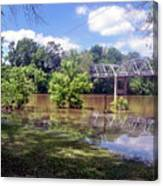 Milnes Bridge At Flood Canvas Print