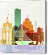 Milwaukee Skyline Color Canvas Print
