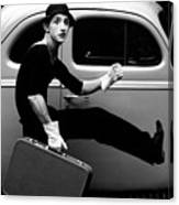 Mime Running Along Side Of Classic Hot Rod Canvas Print