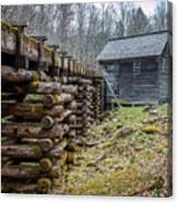 Mingus Millrace And Mill In Late Winter Canvas Print