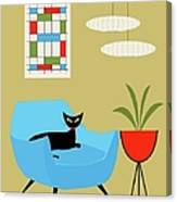 Mini Abstract With Turquoise Chair Canvas Print