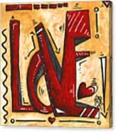 Mini Pop Art Gold Red Love Original Painting By Madart Canvas Print