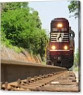 Mini Train Moves Down The Track Canvas Print