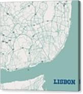 Minimalist Artistic Map Of Lisbon, Portugal 3a Canvas Print