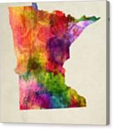 Minnesota State Map 02 Canvas Print