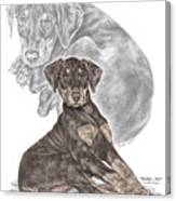 Mischief ... Moi? - Doberman Pinscher Puppy - Color Tinted Canvas Print