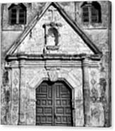 Mission Concepcion Entrance - Bw Canvas Print