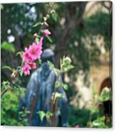 Mission Statue And Flower Canvas Print