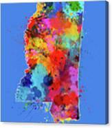 Mississippi Map Color Splatter 3 Canvas Print