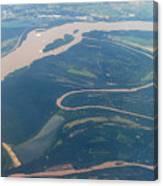 Mississippi River Aerial Shot Canvas Print