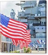 Missouri Battleship Memorial Flags Canvas Print
