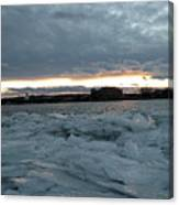 Missouri River Ice Sheet Sunset Canvas Print