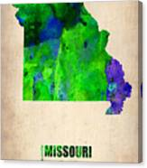 Missouri Watercolor Map Canvas Print