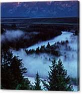 Mist Over Snake River, Sunrise Light Canvas Print
