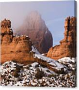 Mist Rising In Arches National Park Canvas Print