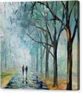 Misty Stroll Canvas Print