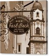 Mittenwald Cafe Sign In Sepia Canvas Print