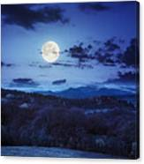 Mixed Forest Near Valley In Mountains  On Hillside At Night Canvas Print