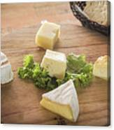 Mixed French Cheese Platter With Bread Canvas Print
