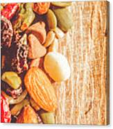 Mixed Nuts On Wooden Background Canvas Print