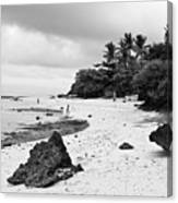 Moalboal Cebu White Sand Beach In Black And White Canvas Print