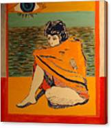 Model with blanket colored Canvas Print