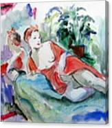 Model With Mirror Image Canvas Print