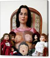 Model With Porcelain Dolls Canvas Print
