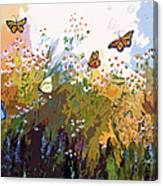Modern Chamomille And Butterflies Canvas Print