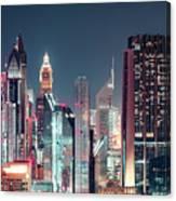 Modern City Architecture By Night. Dubai. Canvas Print