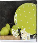 Modern Green And White Polka Dot Kitchen Canvas Print