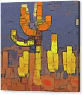 Modern Saguaro - Red Canvas Print