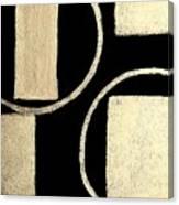 Modern Shapes White Gold Canvas Print