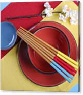 Modern Take On Traditional Japanese Oriental Place Setting Canvas Print
