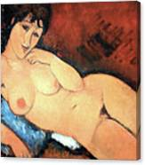 Modigliani's Nude On A Blue Cushion Canvas Print