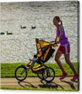 Moher And Child Jogging Canvas Print