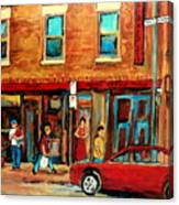 Moishes Steakhouse On The Main By Montreal Streetscene Painter Carole  Spandau  Canvas Print
