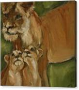 Mom And Babies Canvas Print