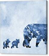 Mom And Baby Bears-blue Canvas Print