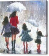 Mom Three Daughters Rain Canvas Print