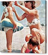 Mom With Girls At Beach Canvas Print