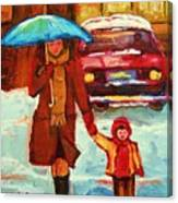 Moms Blue Umbrella Canvas Print