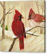 Mom's Favorite Redbirds Canvas Print